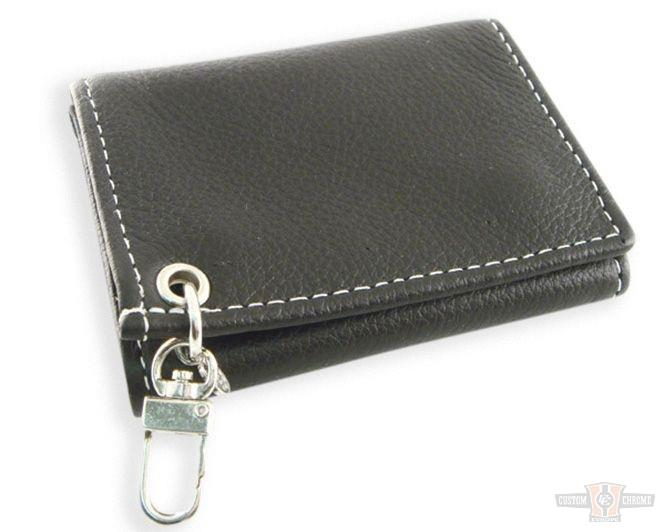 Portefeuille cuir noir Black Piped Soft Leather Trifold Wallet