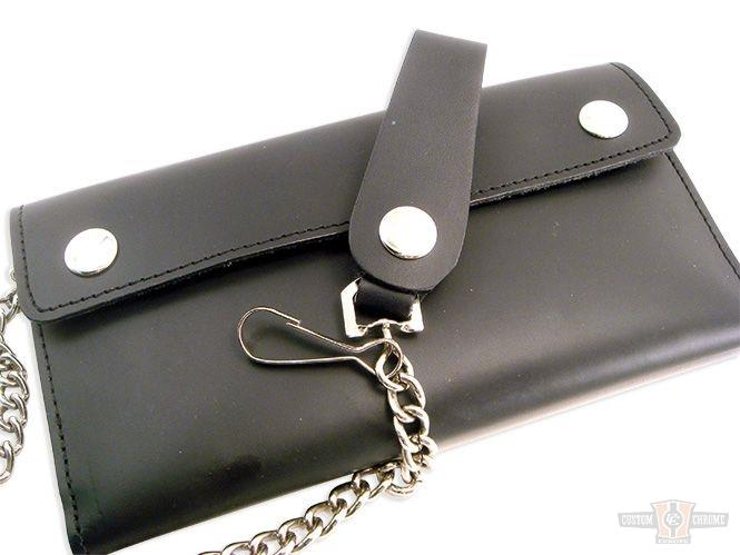 Portefeuille cuir Black Leather Trifold Wallet with Chain Extra Long