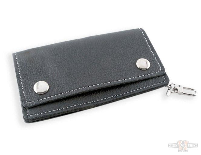 Portefeuille noir cuir Black Soft Leather Biker Wallet with Piping