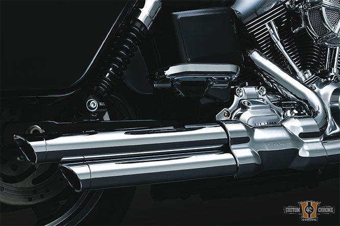 Echappement Crusher Power Cell staggered dual Softail Chrome