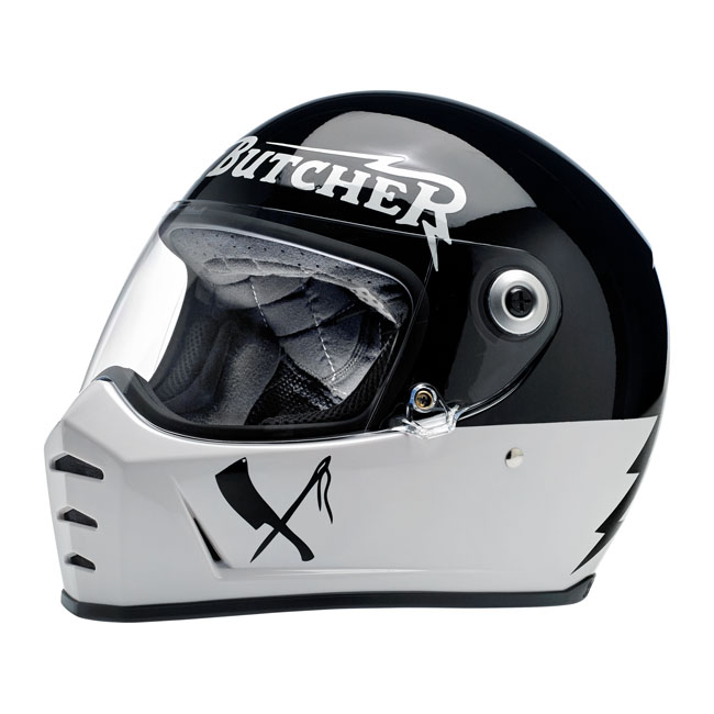 BILTWELL LANE SPLITTER RUSTY BUTCHER HELMET BLACK/WHITE